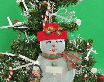 Capiz Snowman Christmas Ornament  (CD117)  (EA)