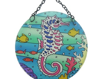 Seahorse Round Suncatcher With Suction Cup & Chain  (EA)