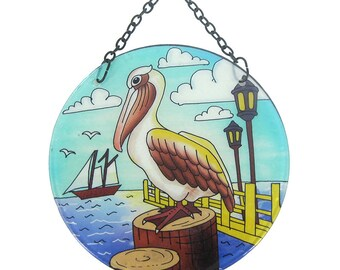 Pelican Round Suncatcher With Suction Cup & Chain  (EA)