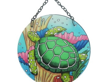 Turtle Round Suncatcher With Suction Cup & Chain  (EA)