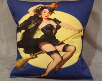 Halloween 50's pin-up girl Witch cushion/pillow
