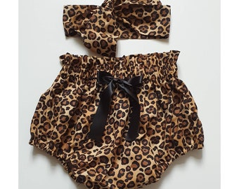 931cb4af7c1cf Beautiful Cheetah Leopard print Summer cotton Baby's girl's bloomer and  Headwrap Cute Baby Set Baby Girls Clothes summer spring outfit NEW