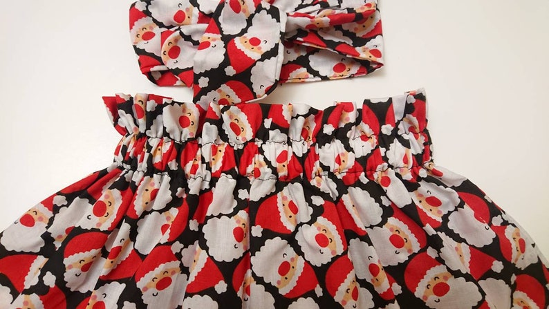 Christmas Baby/'s Skirt and Headwrap Cute Baby Set Santa Print  Baby Girls Clothes NEW