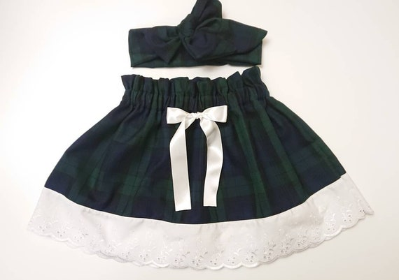 Baby/'s Skirt and Headwrap Cute Baby Set Tartan Print Baby Girls Clothes NEW