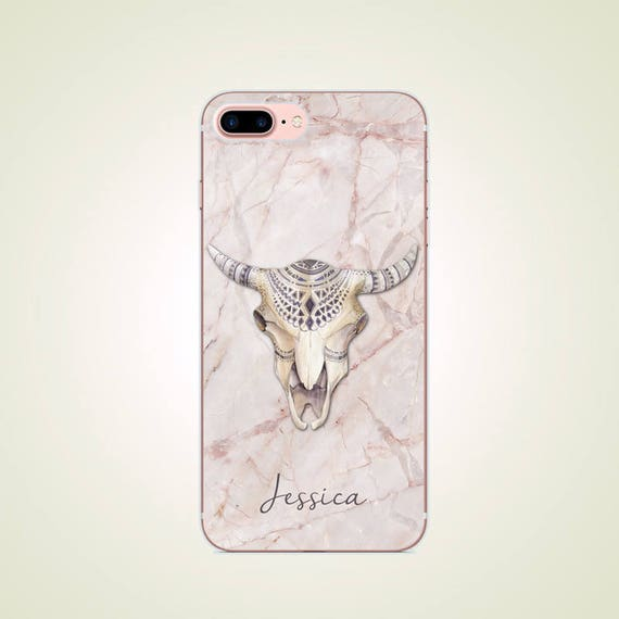 Custom Name Marble Cow Skull Tattoo Iphone X 8 8 Plus Case Etsy