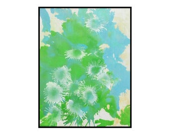 Original Abstract Painting Green Blue Cream white ink Modern Art on Canvas by Robert McConvey home decor Wall artwork ready to hang - Dazed