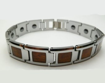 """Unisex Natural Hawaiian Koa Wood Inlay Tungsten Fashion Therapeutic Energy Magnetic 8.5"""" Length 13mm Width Chain Link Bracelet 2021"""