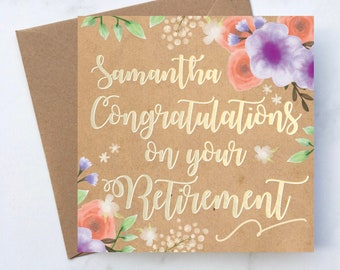 Personalised Floral Congratulations On Your Retirement Card