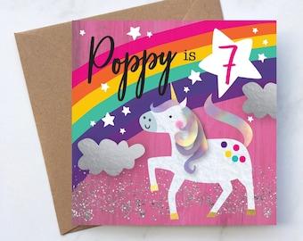 Unicorn Rainbow Birthday Card, Unicorn Rainbow Birthday Card for Girls, Childrens Unicorn and Rainbow Card, Kids Rainbow Unicorn Card