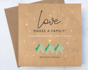 Personalised Love Makes a Family Adoption Card, Personalised Adventure Awaits Adoption Card, Adoption Card, New Baby Adventure Card