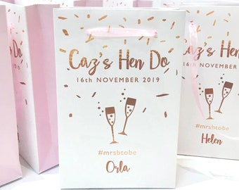 Hen Party Bags, Pink & Rose Gold Hen Party Bags, Mint and Silver Hen Party Bags, Hen Do Goody Bags