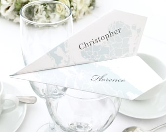 Paper Aeroplane Wedding Place Names, Map Around the World Wedding Guests Names for Tables