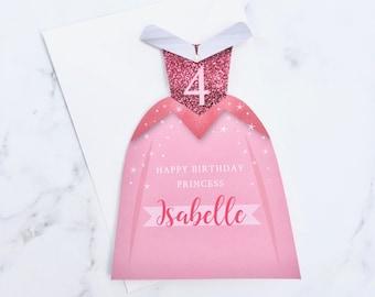 Princess Birthday Card, Birthday Card for a Princess, Princess Birthday Party, Personalised Princess Card
