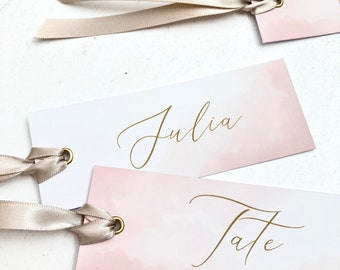 Blush Pink and Gold Place Names with Ribbon, Pink and Silver Name Tags, Birthday Party Name Tags, Wedding Place Names, Calligraphy Name Tags