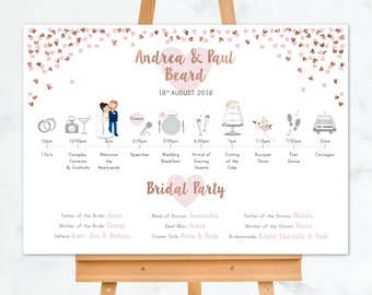 Wedding Timeline Sign, Order of the Day Wedding Sign, Timeline of Events and Welcome Sign, Rose Gold Hearts Wedding Order of Events