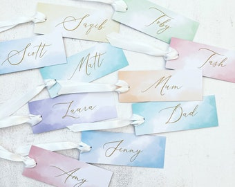 Pastel Place Name Tags with Ribbon, Wedding Name Tags with Ribbon, Calligraphy Style Name Tags, Personalised Wedding Name Tags