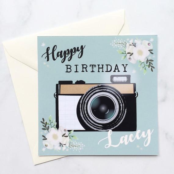 Camera Card Photography Birthday Card Personalised Camera Etsy