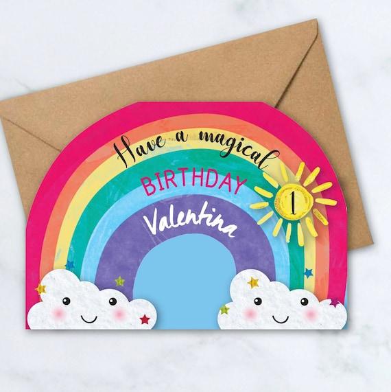 Handmade Personalised Rainbow Birthday Card Girls Daughter Niece 1 2 3 4 5 6 7 8
