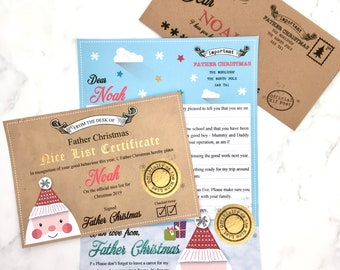 Letter From Santa, Personalised Letter From Father Christmas, Envelope and Nice List Certificate, Christmas Letter Pack