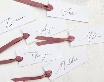 Place Name Tags with Ribbon, Boho Ripped Name Tags with Dusky Pink Ribbon, Calligraphy Style Name Tags, Personalised Wedding Name Tags
