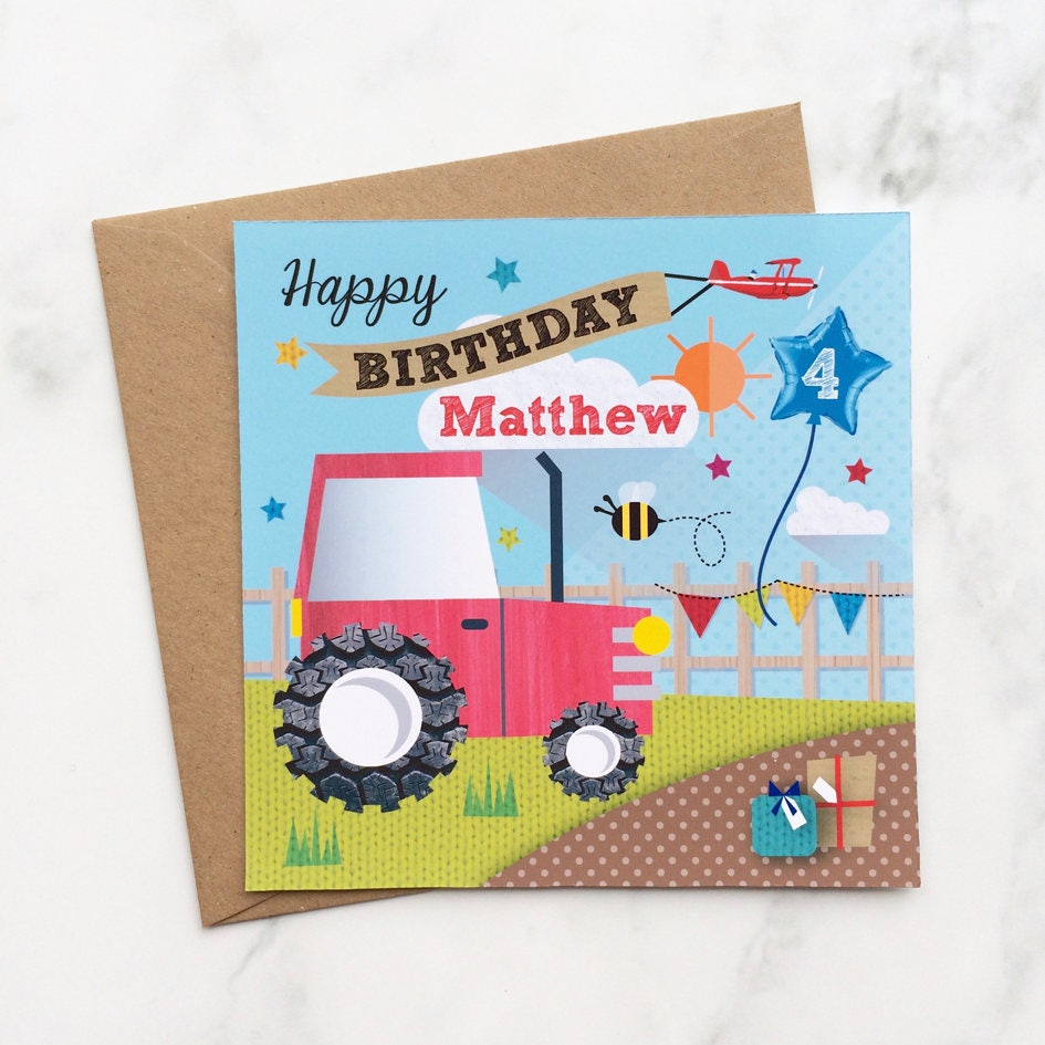 Kids Red Tractor Card Birthday Card Childs Tractor Card Etsy