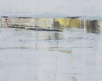 """Original image, Monotype """"ICEWATER"""", sheet size din A4, motif size 15 x 20 cm, abstract landscape"""