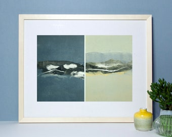"""Original image, monotype """"Night and Day"""", leaf size 30 x 40 cm, motif size 20 x 30 cm, horizon, abstract image, landscape"""