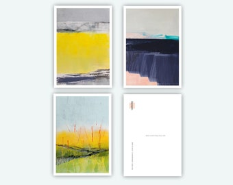 Art Postcards, Greeting Cards, Size DINA6, 3 Motifs, Portrait, Modern Landscape, Suitable for Many Occasions, Nordic Style