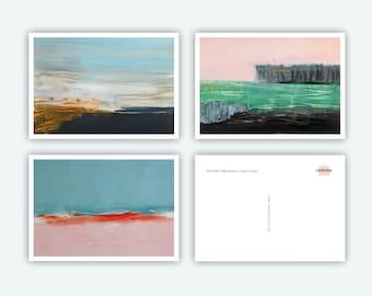 Postcards, Greeting Cards, Size DINA6, 3 Motifs, Landscape, Modern Landscape, Suitable for Many Occasions, Nordic Style, Coastal Landscape
