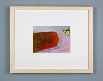 Original picture, pastel painting, Riverside 3, luminous landscape, special gift, abstract landscape, modern, picture framed