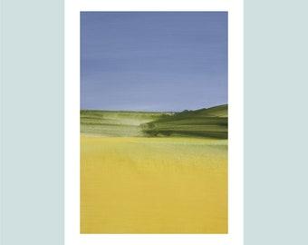 "A4 Fine Art Print, title: ""Summer Field"", 21 x 30 cm, modern art, special gift, abstract landscape, signed,"