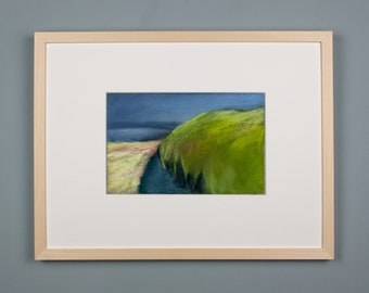 Original picture, pastel painting, blue path, luminous landscape, special gift, abstract landscape, modern, picture framed