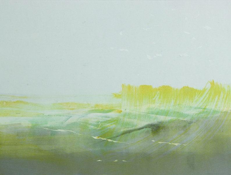 horizon motif size 30 x 40 cm Original image monotype Yellow Reed abstract image sheet size 40 x 50 cm Nordic landscape