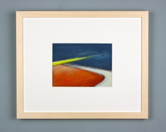 Original picture, pastel painting, Riverside 2, luminous landscape, special gift, abstract landscape, modern, picture framed