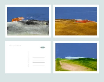 Postcards, Greeting Cards, Size DINA6, 6 Motifs, Landscape, Modern Landscape, Suitable for Many Occasions, Nordic Style, Coastal Landscape
