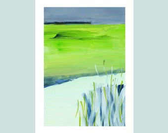 """A4 Fine Art Print, title: """"Green Shore"""", 21 x 30 cm, modern art, special gift, abstract landscape, signed,"""