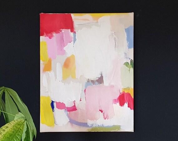 abstaktes Gemälde in Acryl auf Leinwand, 2020, 70 x 55 cm