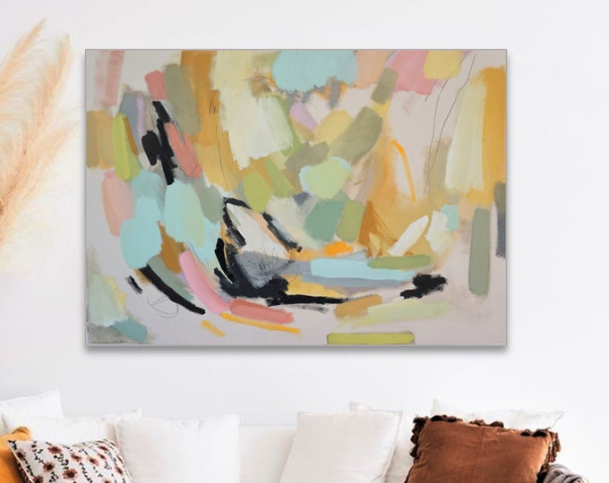 Featured listing image: Large Pastel Modern Wallart, Abstract Acrylic Painting, Original Colorblocking Art On Canvas,  Housewarming, Danish Style, Contemporay Art