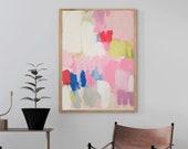 abstract pastel art print - pink canvas wall art