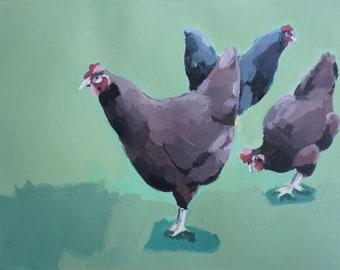 Chicken Party, Acryl auf Papier, 2019, 30 x 40 cm