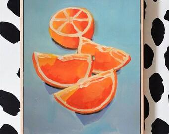 Orangen, Stillleben, Acryl auf Papier, 2019, 40 x 30 cm
