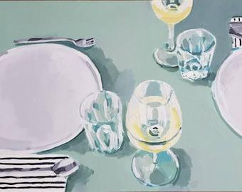 Modern Laid Table Still Life, Original Painting, Art Kitchen Gift, Unique Young Art, Housewarming Acrylic Wallart, Kitchen Decor, Blue Green