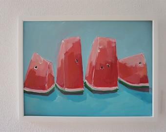 Melonen Stillleben, Acryl auf Papier, 2019 , 30 x 40 cm