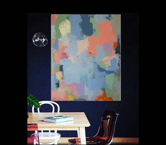 Modern Abstract Acrylic Painting, Large Contemporary Art, Original Statement Piece, Unique, Big, Blue, Orange, Purple