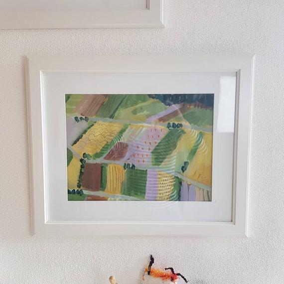 Abstrakte Landschaft, Acryl auf Papier, 2019, 30 x 40 cm