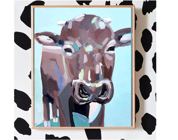 animal painting acrylic art, original animal painting, cow abstract wallart