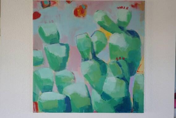 Kaktus, Mischtechnik auf Leinwand, 2016, 50 x 50 cm