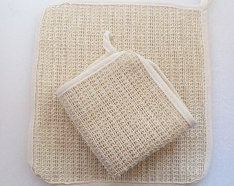 "Eco friendly, all natural washcloth. 10"" woven Sisal washcloth, washable, gentle exfoliation"