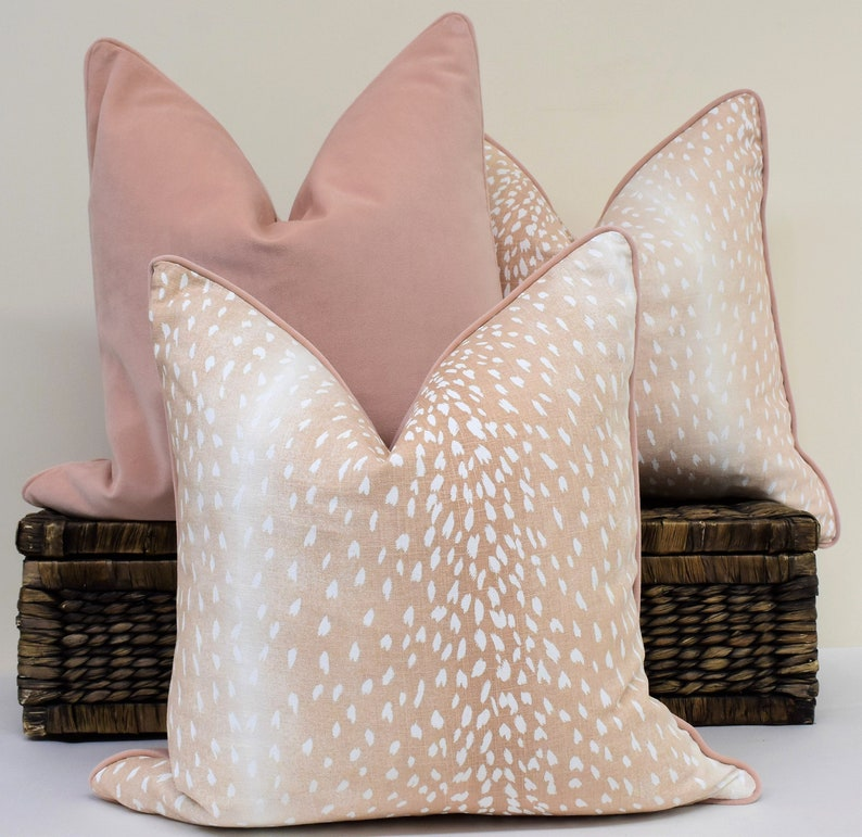 Blush chinoiserie antelope pillow cover peach blush cream and image 0