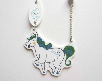 Necklace mid-length Unicorn and his rain cloud